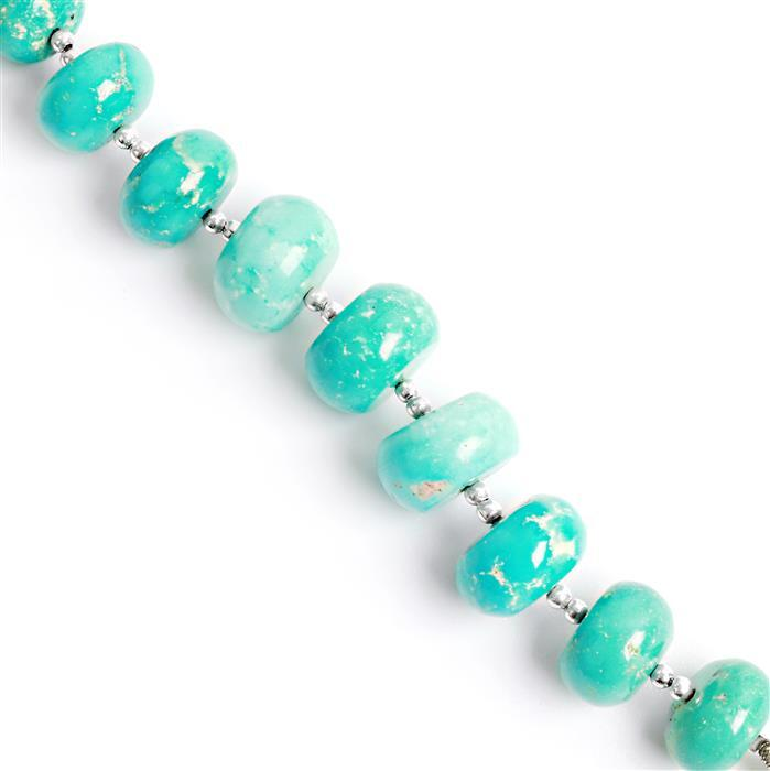 Limited Edition 95cts Turquoise Graduated Plain Rondelles Approx 10x6 to 14x7mm, 8cm Strand.
