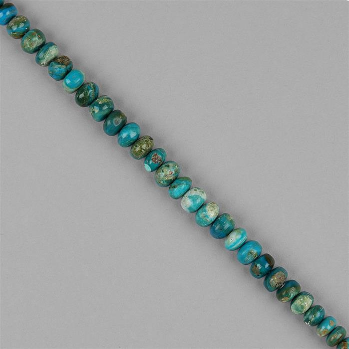 50cts Opalina Graduated Plain Rondelles Approx 5x3 to 7x4mm, 14cm Strand.