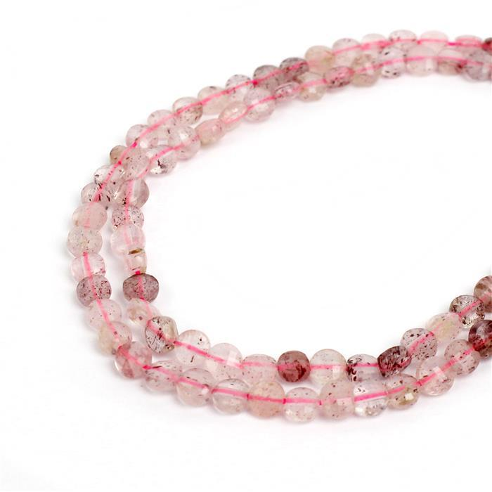 25cts Strawberry Quartz Faceted Coins Approx 4mm , 38cm strand