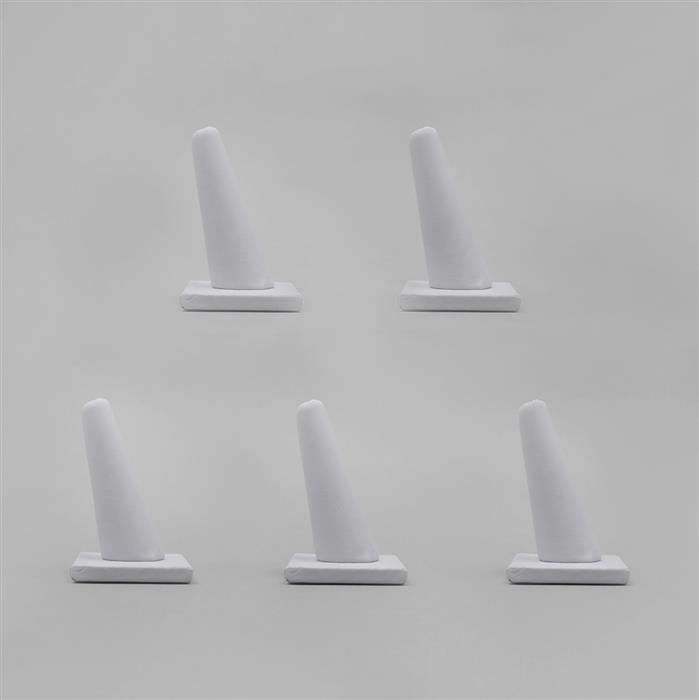 White Leatherette Ring Display Stand (5pcs)