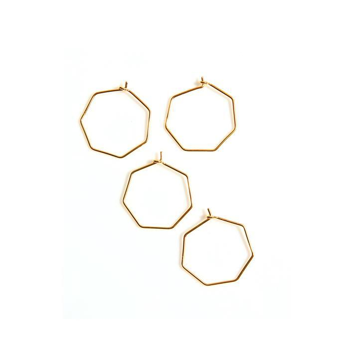 Gold Plated 925 Sterling Silver Heptagon Charms Approx Dia 25mm, (4pcs)