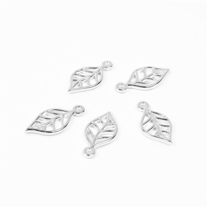 925 Sterling Silver Leaf  Charms Approx 14mm 5Pcs