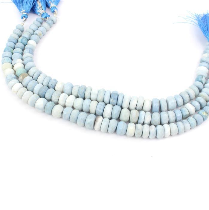 3 For 2! 3x 100cts Blue Opal Graduated Faceted Rondelles Approx 5x2 to 10x6mm, 21cm Strand