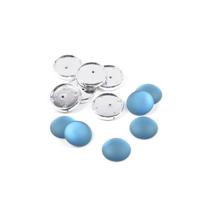 Sky Blue Luna Cabochons with Frame Approx 24mm (6pk)