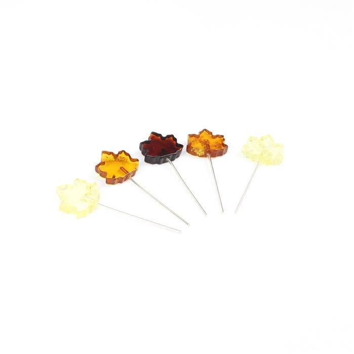 Baltic Multi Colour Amber Maple Leaf Approx 13x12mm, Sterling Silver Headpins 0.76mm/22Gauge, 25mm (5pc)