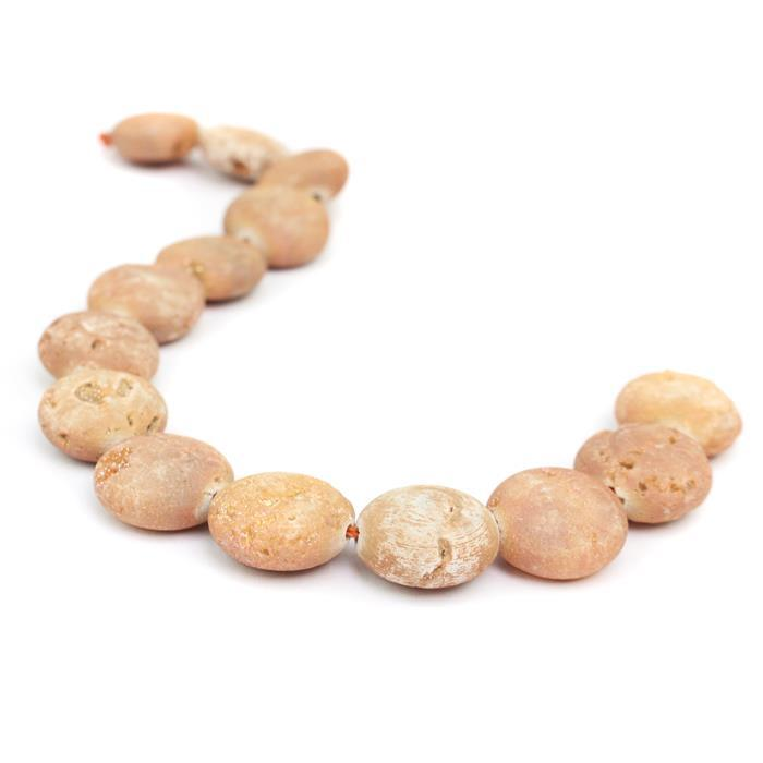 "110cts Orange Druzy Quartz Coins Approx 14mm, 19-20cm/7.5-8"" strand"