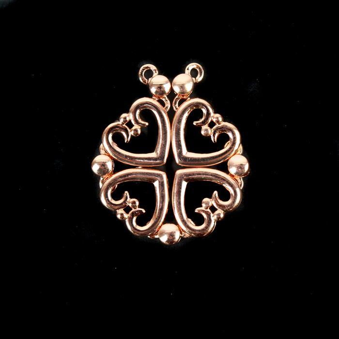 Rose Gold Plated Base Metal Magnetic Heart Pendant/Connector Approx 32mm / 90x14mm (1pc)