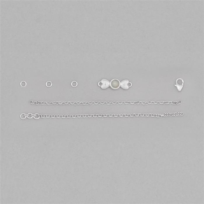 Birthstone Kit: 925 Sterling Silver Bracelet Kit Inc. 0.30cts Ethiopian Opal Round Approx 5mm