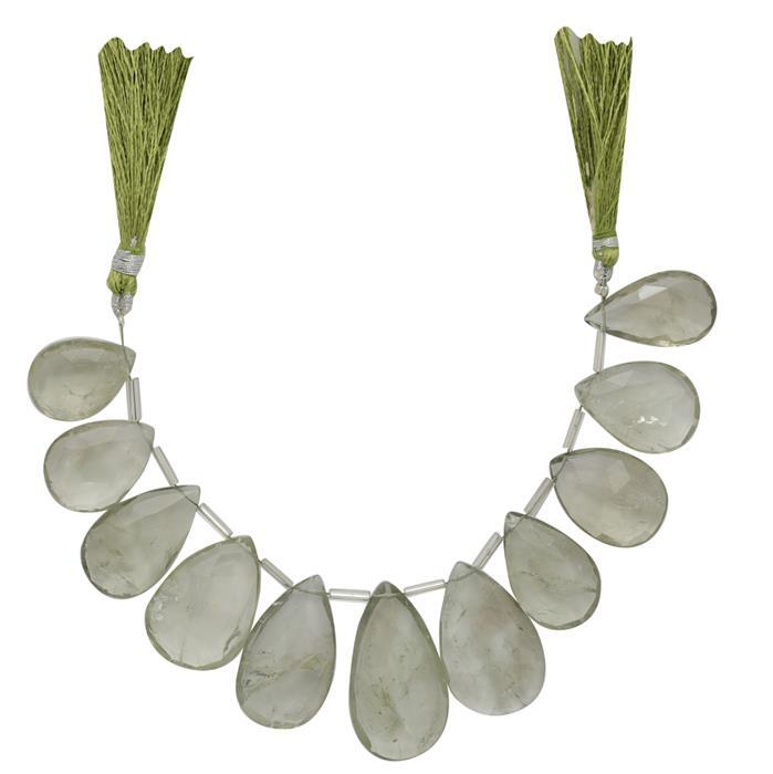 260cts Green Amethyst Graduated Faceted Elongated Pears Approx From 20x13 to 30x17mm, 14cm Strand.