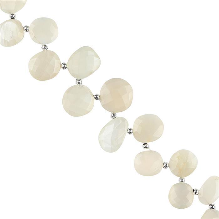 124cts White Moonstone Graduated Faceted Fancy Shape Approx 12x10 to 17x14mm, 20cm Strand.