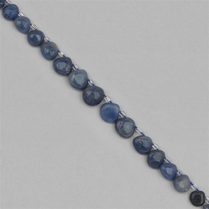 58cts Blue Sapphire Graduated Plain Drops Approx 4 to 11mm, 20cm Strand.
