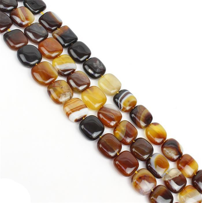 Triple Trouble! 3x 310cts Coffee Stripe Agate Puffy Squares Approx 16mm, 38cm/strand