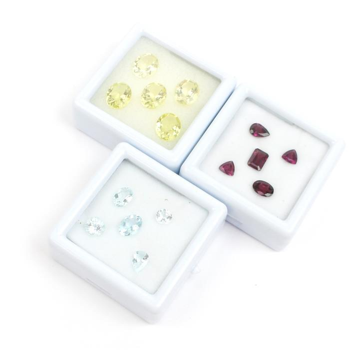 Multi Shape Assortment; Inc Rhodolite Garnet, Aquamarine & Lemon Quartz