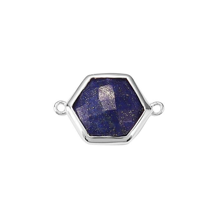 925 Sterling Silver Bezel Connector Approx 19x13mm Inc. 4.70cts Lapis Lazuli Briolette Cut Hexagon Approx 11mm.