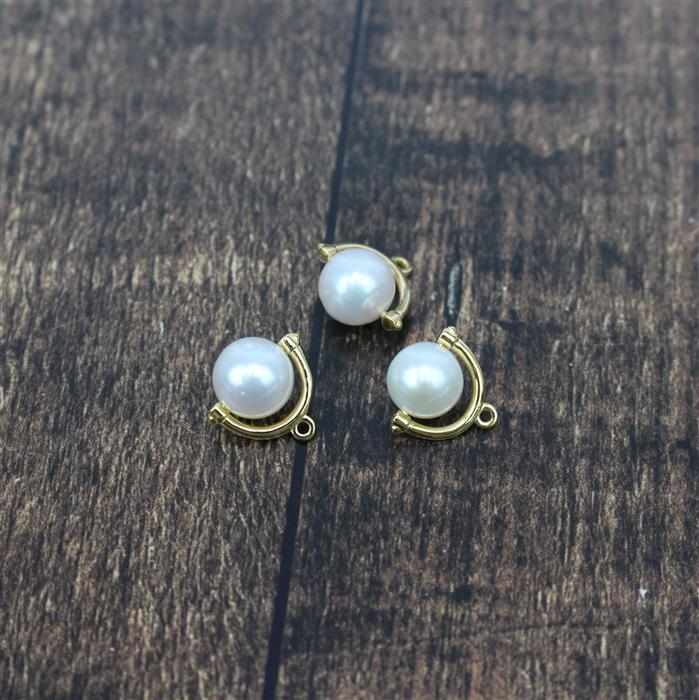 Gold Plated 925 Sterling Silver 8mm Freshwater Cultured Pearl Charms Approx 12mm, 3pcs