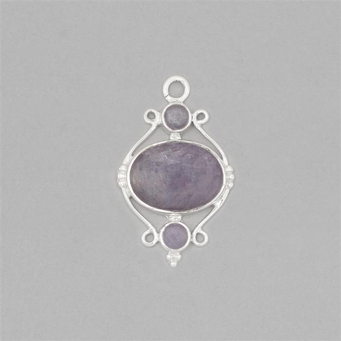 925 Sterling Silver Gemset Pendant Approx 35x22mm Inc. 10cts Tanzanite Cabochons