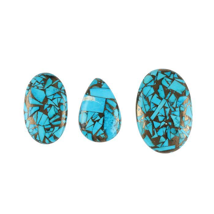 130cts Copper Mojave Turquoise Multi Shape Cabochons. (Pack of 3)