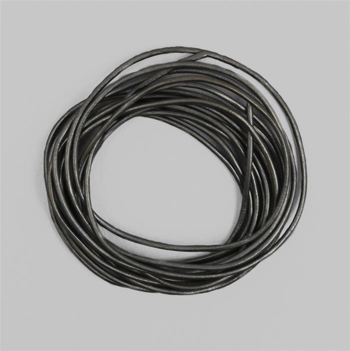 2M Grey Leather Cord Round Approx 1mm