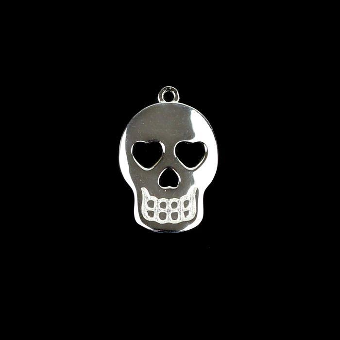 925 Sterling Silver Sugar Skull Pendant 20x14mm 1pk