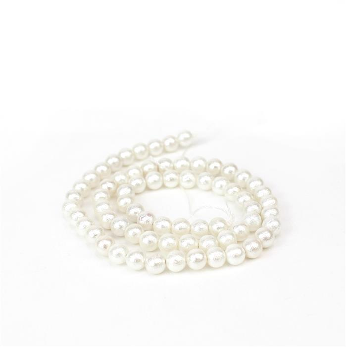 White Textured Shell Pearl Plain Rounds Approx 6mm, 38cm length