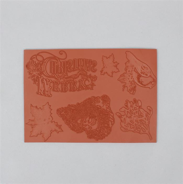 Indigoblu Retro Christmas A5 Size Red Rubber Stamp