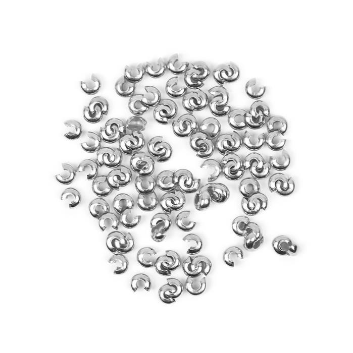 Silver Plated Brass Crimp Bead Covers - 3mm (100pcs/pack)