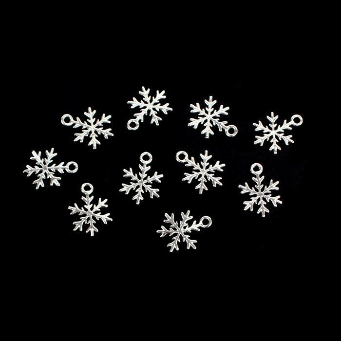Silver Plated Base Metal Snowflake Charms Approx 12mm (10pcs)