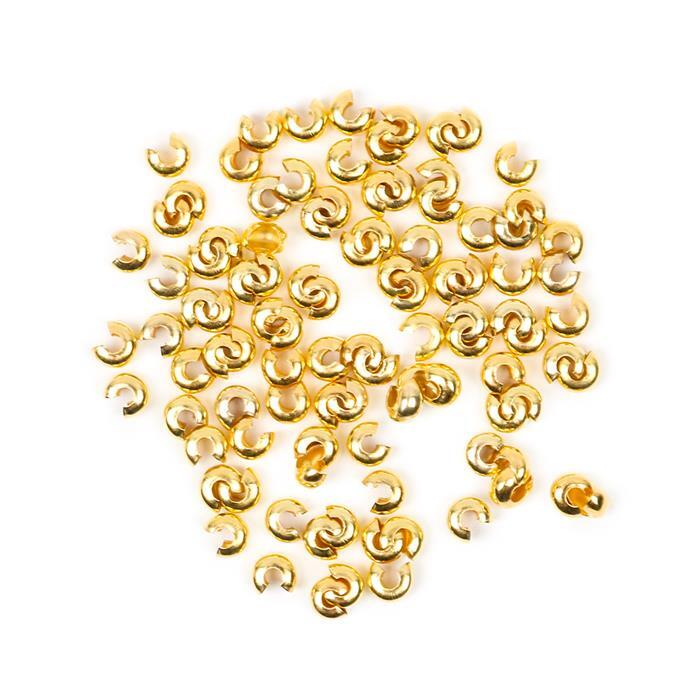 Gold Plated Brass Crimp Bead Covers - 4mm (100pcs/pk)