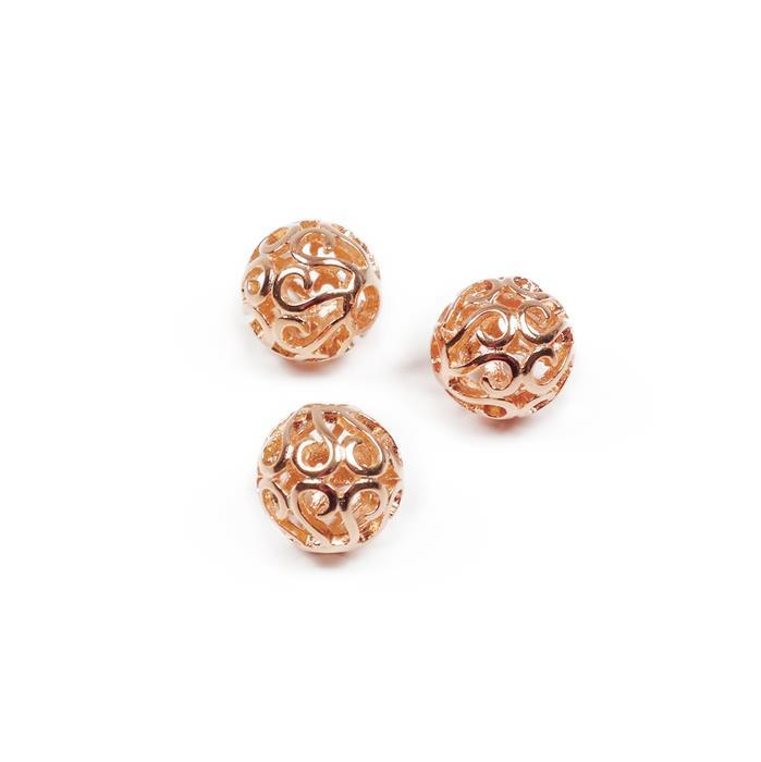 Rose Gold Plated 925 Sterling Silver Filigree Ball Spacers Approx 8mm, 3 Pcs