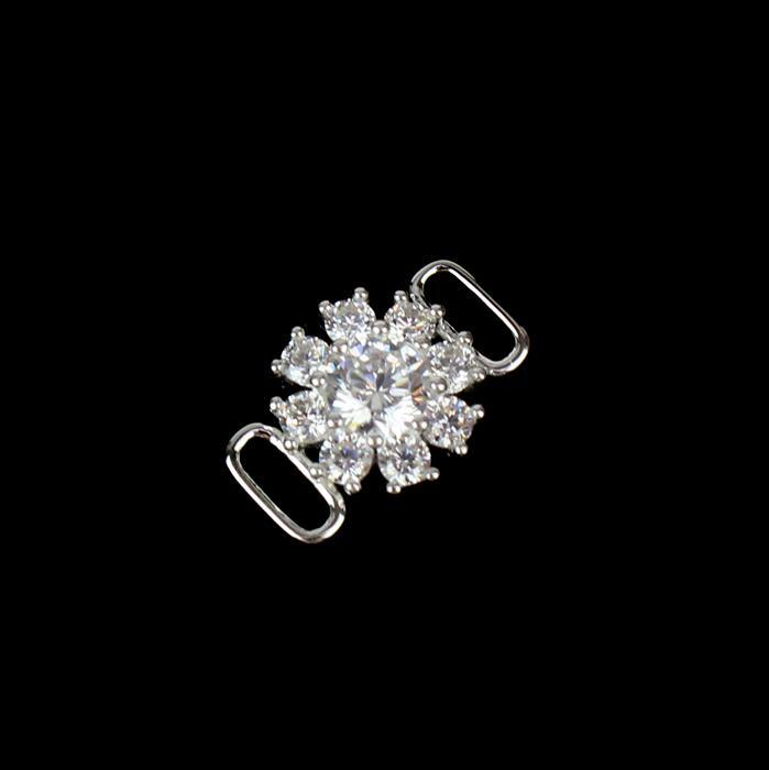 925 Sterling Silver Cubic Zirconia Flower Connector Approx 15x 10mm, 1pcs