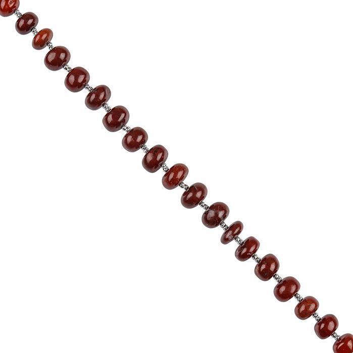 88cts Red Jasper Graduated Plain Rondelles Approx 6x4 to 10x5mm, 18cm Strand.