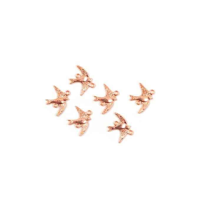 Rose Gold Coloured Swallow Charms Approx 21x16mm, 6pk