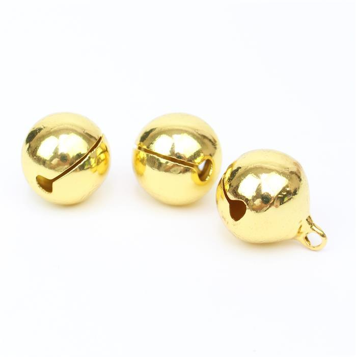 Gold  Coloured Brass Bell Charms Approx 18mm 3pk