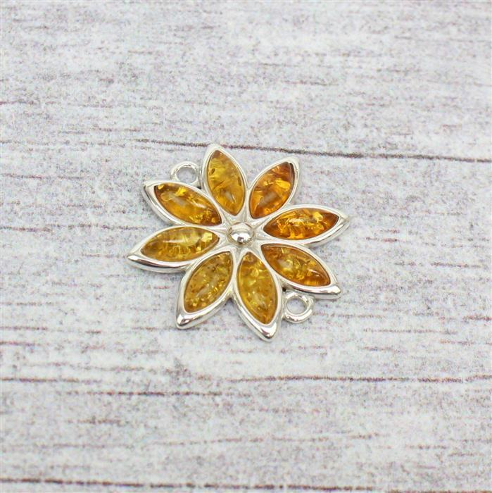Sterling Silver Baltic Cognac Amber Marquise Flower Cabochon Connecter Approx 20mm