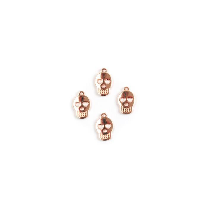 Rose Gold Plated 925 Sterling Silver Sugar Skull Charms 10x7mm, 4pk