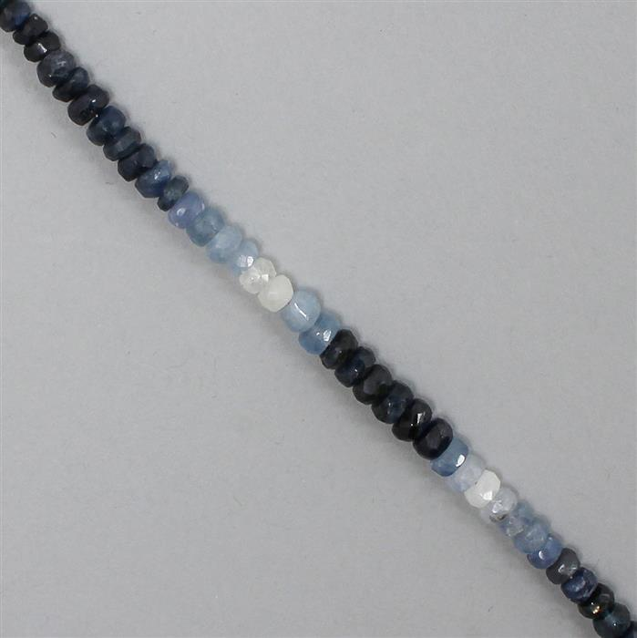 35cts Shades Of Blue Sapphire Graduated Faceted Rondelles Approx 2x1 to 5x3mm, 18cm Strand.