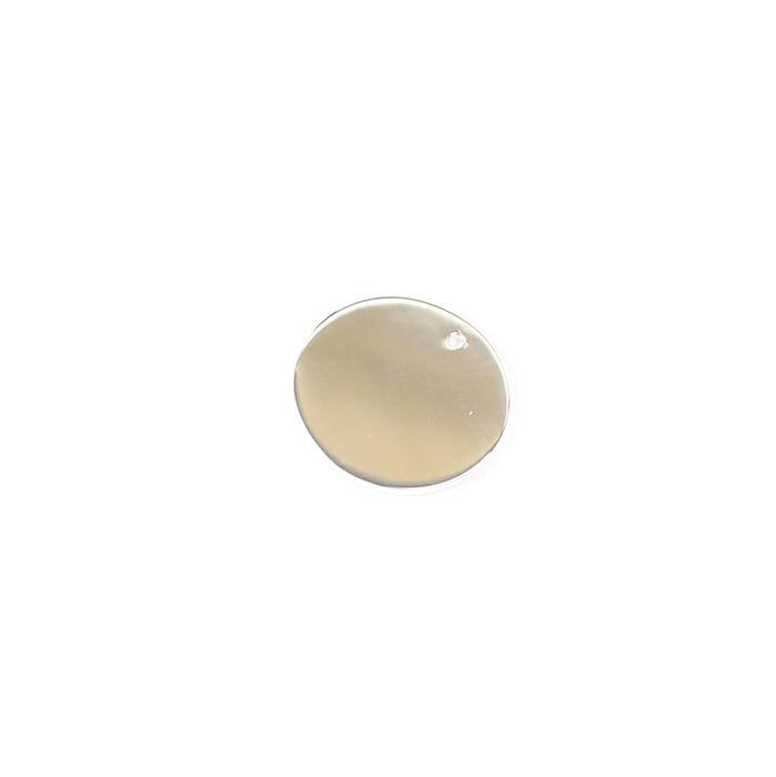925 Sterling Silver Round Plain Coin Charm Approx 20mm, 1pcs