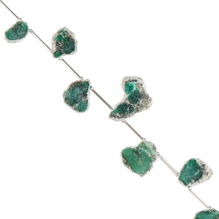 65cts Fuchsite Graduated Rough Slices Approx 10x7 to 18x11mm, 18cm Strand.