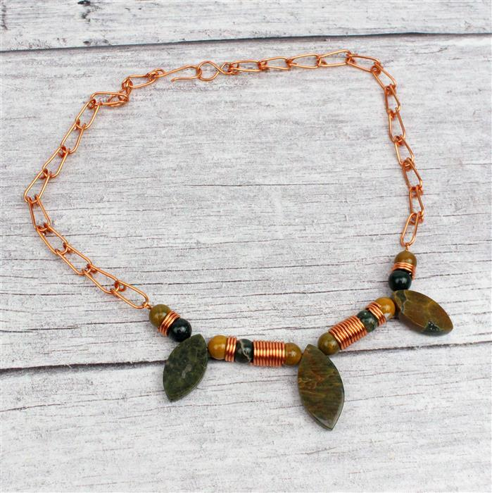 Arrow Head; 80cts Ocean Jasper Graduated Plain Marquise, Copper Wire & Suedette Cord