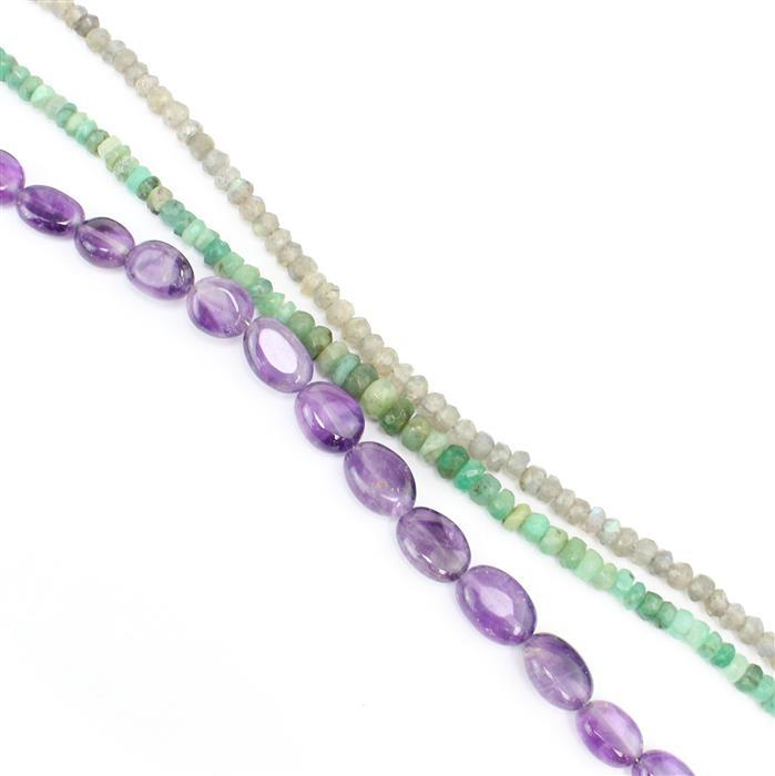 Earth Tone 3! Inc; 30cts Labradorite & 25cts Emerald Rondelles, 50cts Amethyst Ovals