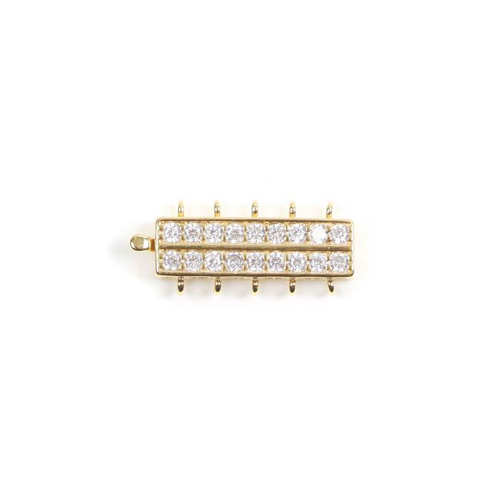Gold Plated Base Metal CZ Set 5 Strand Box Clasp Approx 28x10mm (1pc)