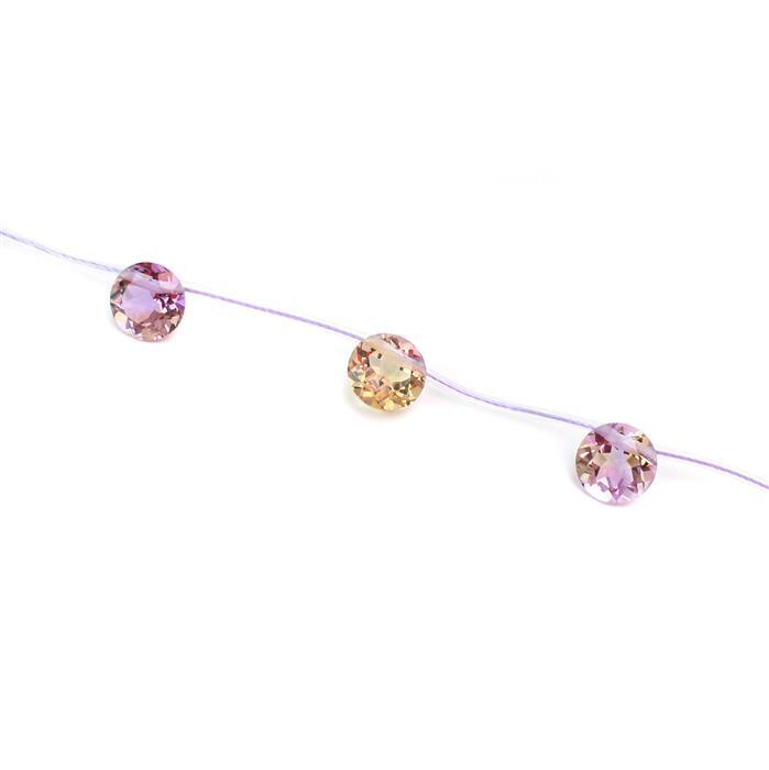 Allure Collection. 5cts Ametrine Faceted Rounds Approx 10mm 3pcs