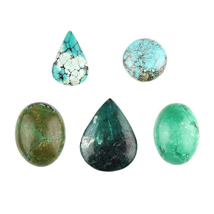 90cts Turquoise Multi Shapes Cabochons Assortment.