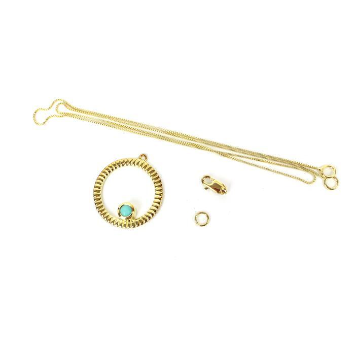Birthstone Kit: Gold Plated 925 Sterling Silver Birthstone Necklace Kit Inc. 0.48cts Turquoise Round Approx 5mm
