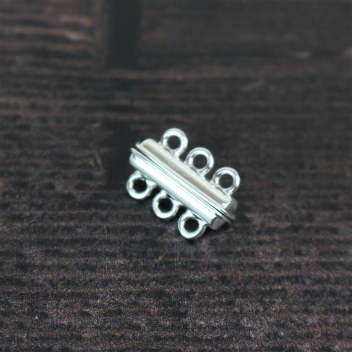925 Sterling Silver Triple Row Magnetic Clasp Approx. 10x4mm