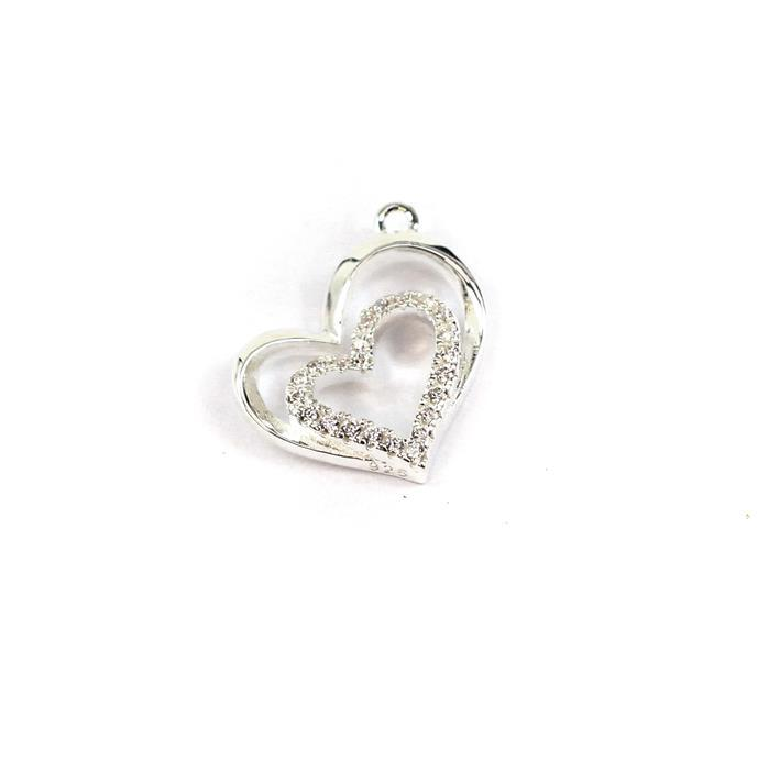 925 Sterling Silver Cubic Zirconia Double Heart Charm Approx 13x16mm,1pc