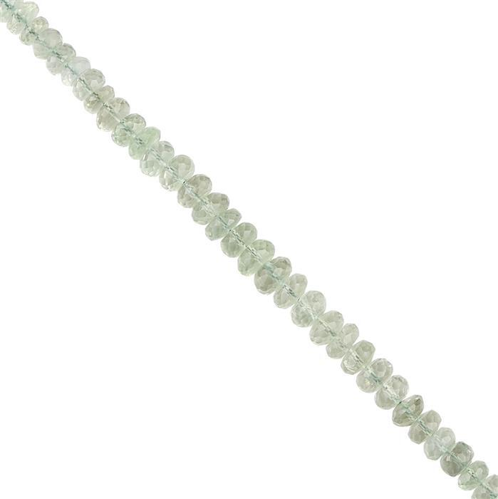 108cts Green Amethyst Graduated Faceted Rondelles Approx 6x4 to 9x5mm, 18cm Strand.