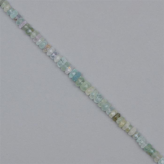 50cts Multi-colour Beryl Graduated Faceted Rondelles Approx 3x1 to 5x3mm, 28cm Strand.