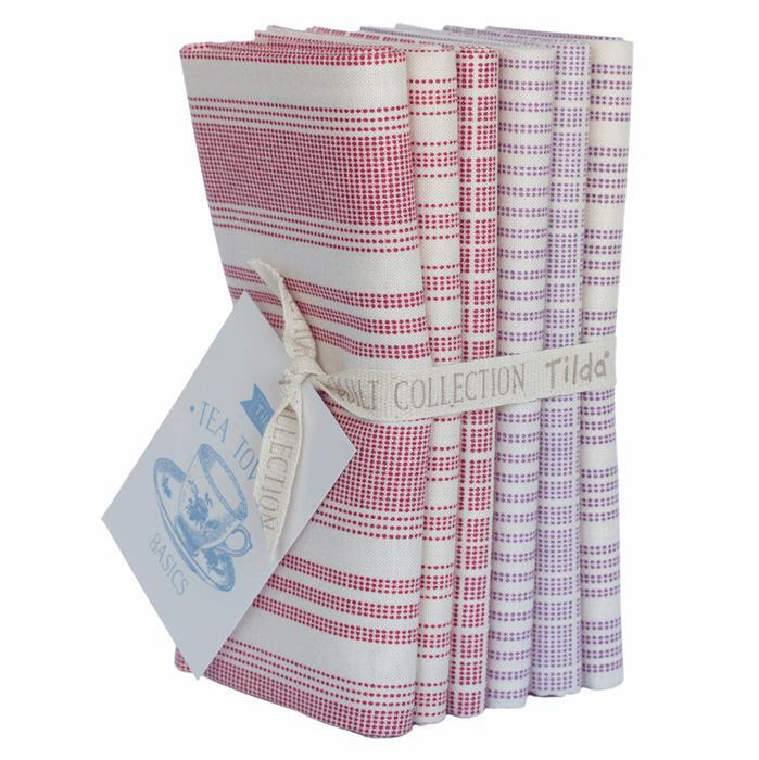 Tilda Classic Basics Red/Plum Fat Quarter Bundle 6 Pieces