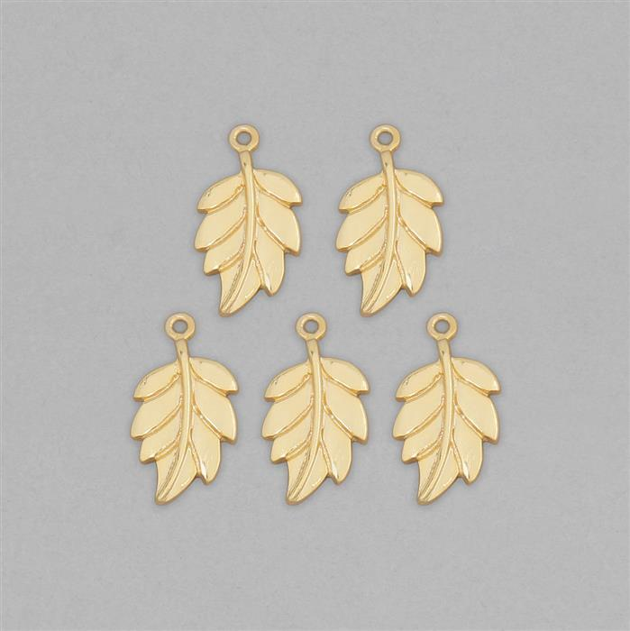 Gold Plated Brass Leaf Charms - 22x12mm (5pcs/pk)